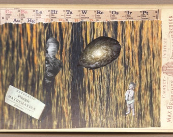 "surreal collage, paper collage surreal Art, "" Principia Naturalis.."" , Cabinet card, Vintage, Handmade"
