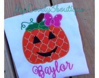 Girls Halloween shirt, Halloween pumpkin shirt, Girls pumpkin shirt, Girls fall shirt, Custom Halloween shirt, Monogrammed pumpkin shirt