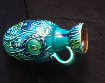 W. German pottery vase, Bay Keramik 73 20, 60s/70s, superb glazing and design.