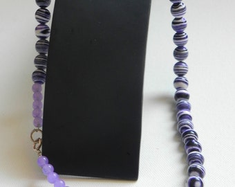 Composite stone and purple agate necklace