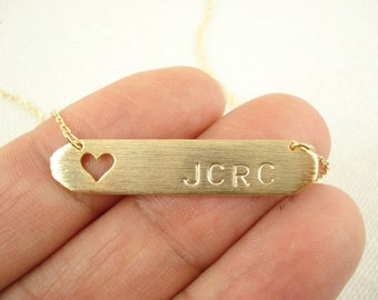 Hand Stamped Gold Bar with heart Necklace...Personalized Name plate bar jewelry, Sorority gift, monogram, bridesmaid gift