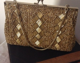 1960S GOLD BEADED EVENING bag. super stunning item!