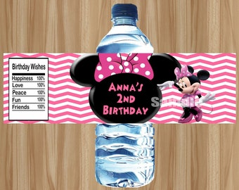 Minnie Mouse Water Bottle Labels, Minnie Mouse Labels, Minnie Mouse Birthday, Minnie Mouse Party, Personalized