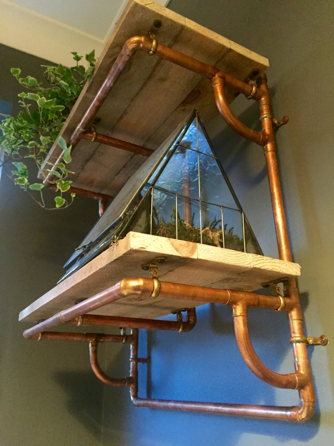Superb img of Copper Pipe and Reclaimed Wood Shelving Industrial by PlankandPipe with #9E682D color and 1125x1500 pixels