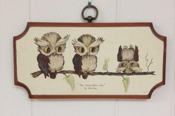 Wooden Owl Wall Decor : Wooden owl wall art decor by vintagemidmod on etsy
