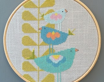 BIRDIE HEIGHTS.  PDF Cross stitch chart / pattern - Instant download