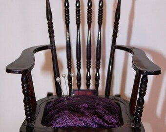 Rocking chair pin cushion; early plastic pin cushion; sewing notions; planter; doll furniture