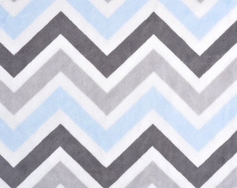 Chevron minky fabric by the yard - baby blue silver charcoal Snow White chevron