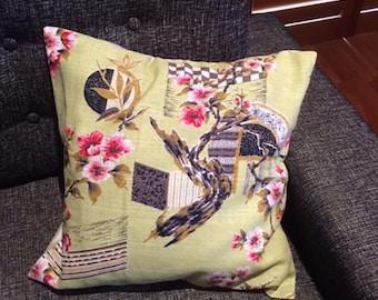1950s Japanese Print Barkcloth Vintage Retro Pillow/ Cushion