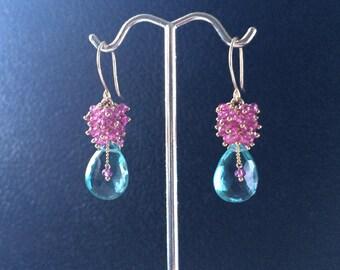 Gold Filled Aqua Blue & Pink Quartz Cluster Dangle Earrings