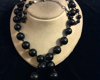 Vintage Long Graduated Black Beaded Necklace