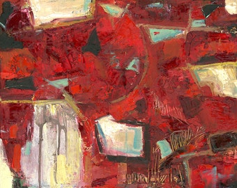 """Red ABSTRACT Oil Painting on canvas, Original Art, geometric, 16x20"""""""