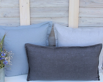 Decorative linen pillow covers / Set of 3 / Cushion covers / greyish blue/silver grey/graphite
