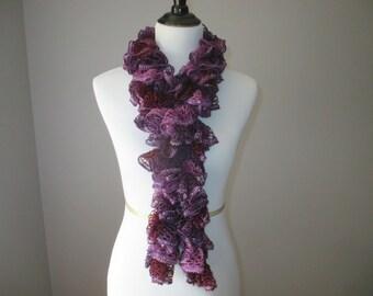 Ruffle Crochet Scarf, Purple Crochet Scarf, Handmade Scarf, Womens Accessory, Crochet Scarf with Sequins, All Season Scarf