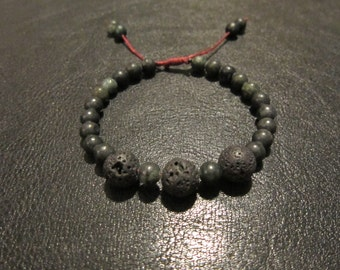 Lava Rock and Green Serpentine Bracelet