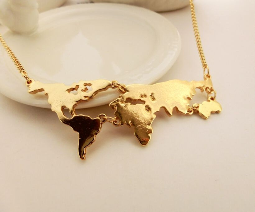 gold world map necklace country necklace travel by aeenher on Etsy