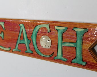 BEACH ARROW SIGN - handpainted directional sign on cypress wood