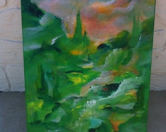 Original Abstract Acrylic Painting/Fields of Green