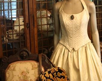 Vintage Ball Gown Jessica McClintock Gunne Sax 7 8 Steampunk Tudor Gold Renaissance Reenactment