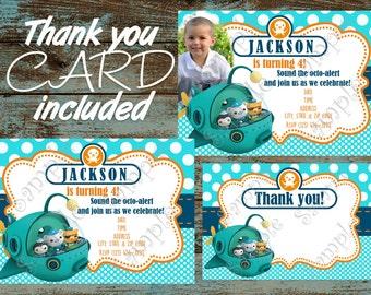 Octonauts Invitation, Octonauts Birthday invitation, Octonauts  Party, Octonauts  Thank you card, Disney Octonauts Birthday Party