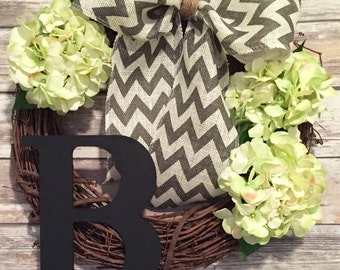 Personalized Hydrangea Wreath with Gray Chevron Bow & Initial