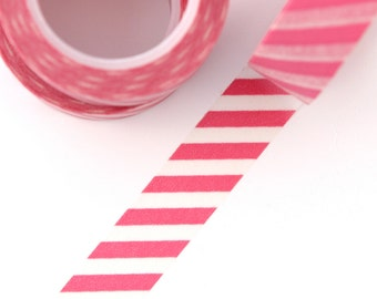 Washi Tape - 1 Roll of Pink and White Diagonal Stripe Tape - Striped Pattern Tape