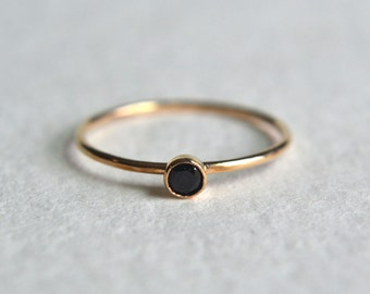 Gold Black Spinel Ring, Gold Filled Black Spinel Ring, Black Gemstone Ring, Stacking Ring, Stackable Ring, Delicate Ring, Dainty Ring