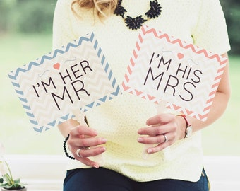 Wedding Paddles I'm his Mrs I'm her Mr | Wedding Photo Booth Props