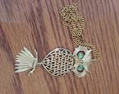 1970's Vintage Owl Costume Necklace Goldtone & Green