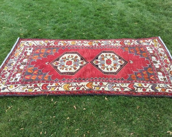 Rare muted colors vintage unique handmade wool rug 4x8ft from Turkey