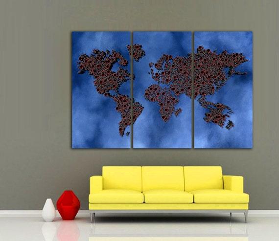 3 Panel Split Art World Map Canvas Print Triptych For: 3 Panel Split Red Color Art 3D World Map Canvas Print Red