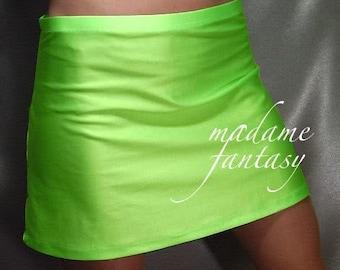 Neon Green Shiny spandex hipster mini skirt