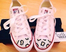 White Swarovksi Crystal Bling Converse with Leopard Print Detail