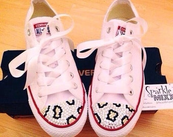 Adult White Swarovksi Crystal Bling Converse with Leopard Print Detail