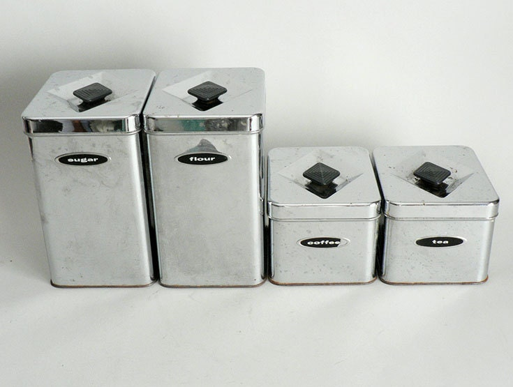 metal chrome kitchen canister set