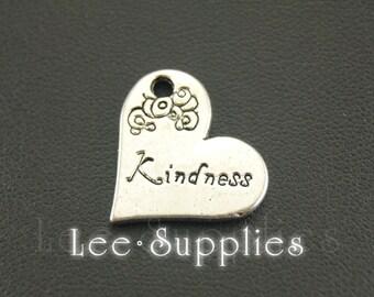 10pcs Antique Silver Alloy Engraved Kindness Heart Charms Pendant A693