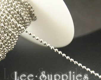 2mm Rhodium Plated Metal Faceted Ball Bead Necklace Chain C46