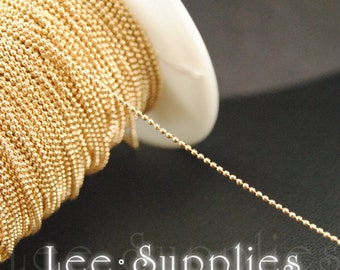 1mm KC Gold Plated Metal Ball Necklace Chain C61