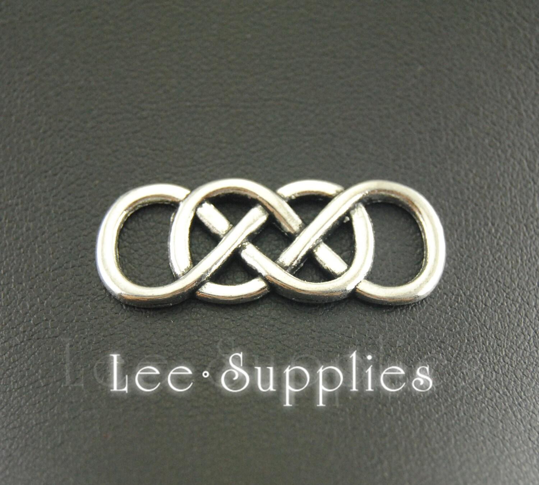 10pcs Antique Silver Bronze Alloy Letter 8 Double Infinity Symbol