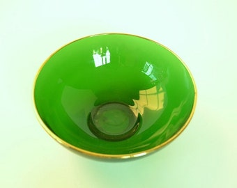 Anchor Hocking Forest Green Bowl With A Gold edge