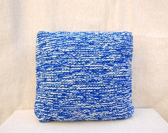 Blue and white double knit hand made bespoke luxury envelope cushion cover.