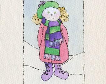 Watercolor Print Greeting Card: Winter Scene, Girl in the Snow