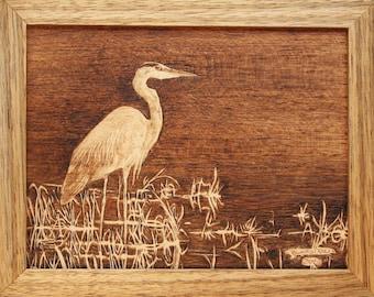 Great Blue Heron Woodburning Art