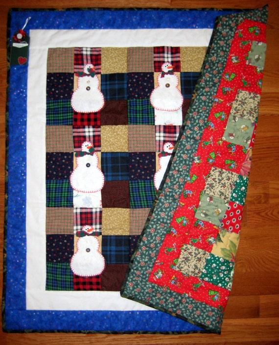 Snowmen Quilt Christmas Quilt Hand Appliqued Snowman Quilt