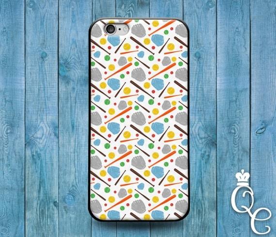 iPhone 4 4s 5 5s 5c SE 6 6s 7 plus + iPod Touch 4th 5th 6th Gen Baseball Bat Ball Glove Pattern Design Collage Sport Cover Cute Phone Case