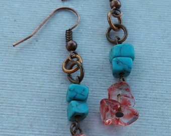 Turquoise and Rose Quartz Earrings
