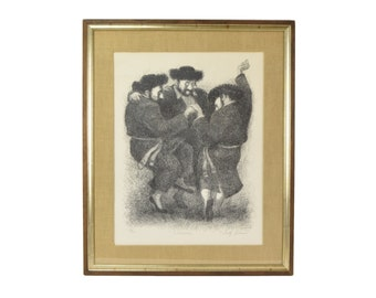 "Tully Filmus Limited Edition Lithograph ""Celebration"" Jewish Men Dancing"