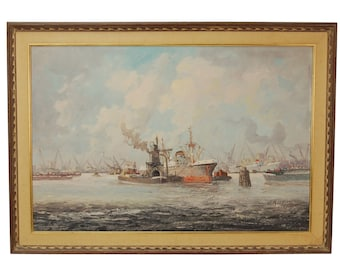 1950's Impressionist Industrial Oil Painting Shipyard Harbor Scene signed