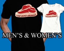 i eat dead animals shirt funny t-shirt meat bacon birthday present mens womens boys girls kids clothes, black and white color short sleeve