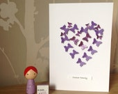 "Purple butterfly ""Forever Family"" adoption celebration card"